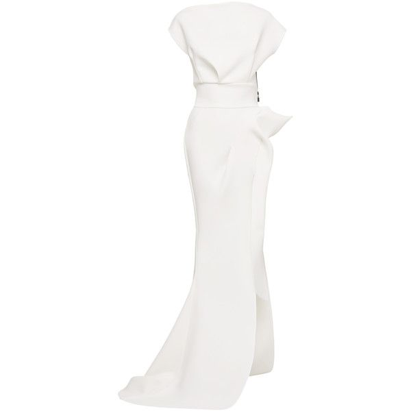 Maticevski Determination Gown (4,300 BAM) ❤ liked on Polyvore featuring dresses, gowns, white, boatneck dress, boat neck dresses, boat neck evening dress, ruffled dresses and white frilly dress