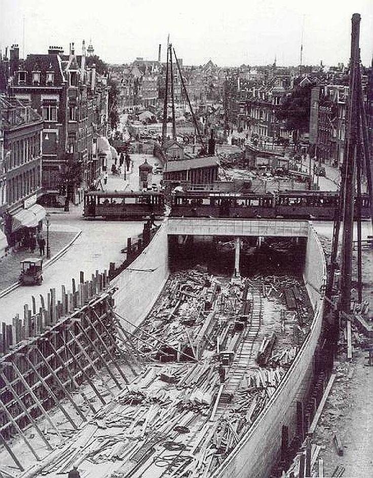 s'Gravendijkwal tunneltraverse bouw 1935