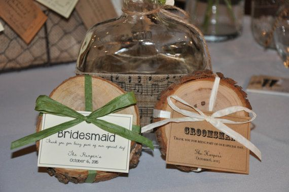 Incredibly unique favors that will last for years to come. Perfect for wedding favors and Bridal Party or Groomsmen gifts! These Wood Coasters are a perfect compliment to a rustic or natural wedding theme. Each favor is hand cut and adorned with a vintage-style paper tag with art work
