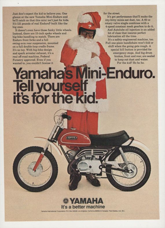 1970 advertisement yamaha mini enduro motorcycle santa for Decoration yamaha