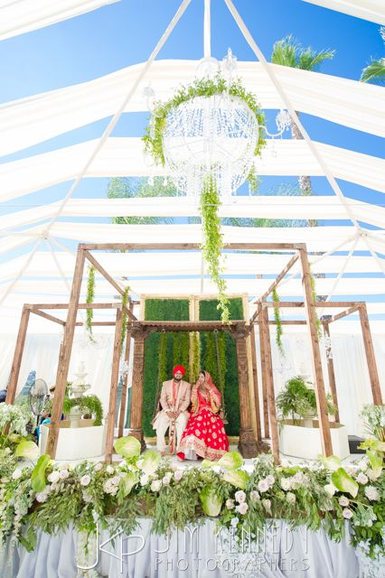 Outdoor all white Indian wedding ceremony | Hello Kismet | Raj Tents | Jim Kennedy Photographers