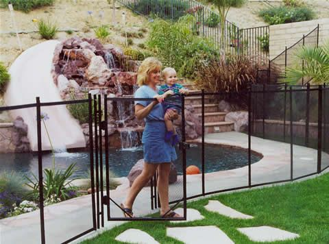 Removable swimming pool fence with self-latching gate, from Guardian Pool Fence