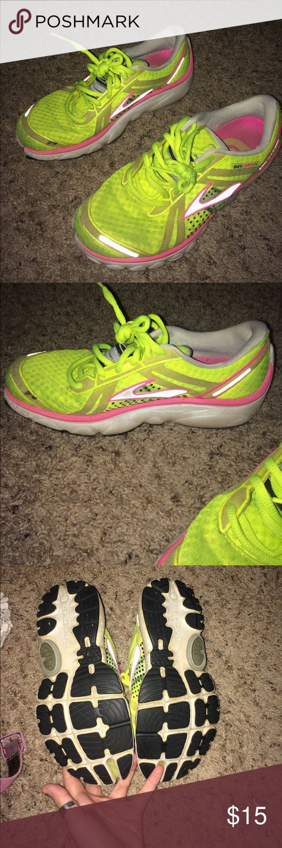 Neon Brooks Running shoes Gently used show some wear - great running shoes! Brooks Shoes Sneakers