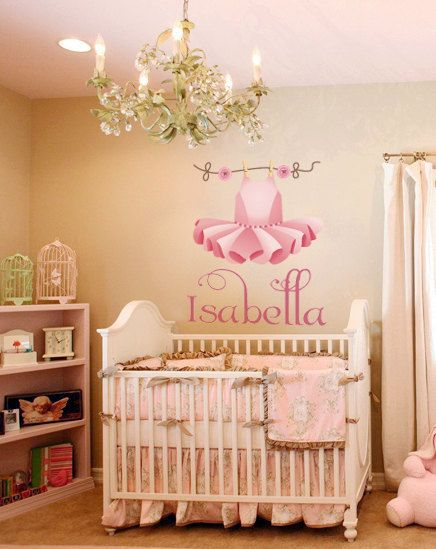 Nursery Ballerina Tutu Name Wall Decall Monogram Nursury Baby Girl Wall Sticker Tutu Decal Ballerina Dress Girls Room Ballet Dress Tutu