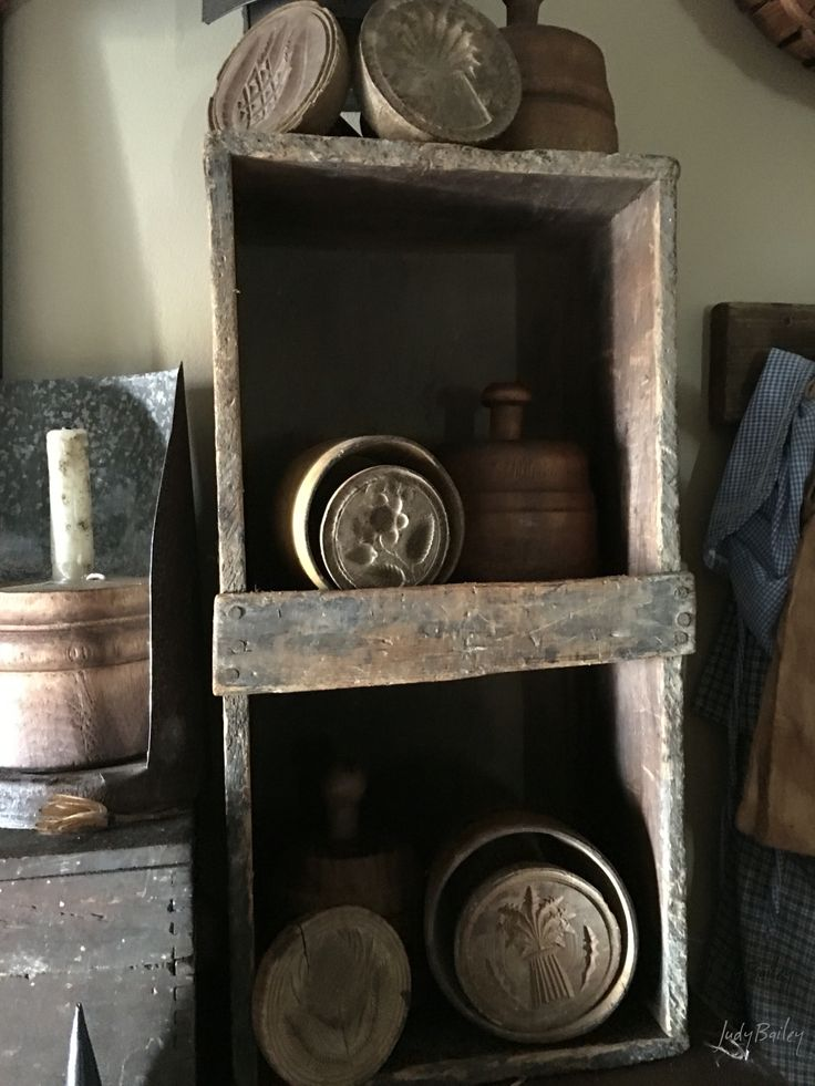 Collection of butter molds and stamps