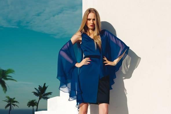 #Tubino in satin stretch bicolore e spolverino in georgette royal #blue #woman #chic #elegance #fashionista #moda