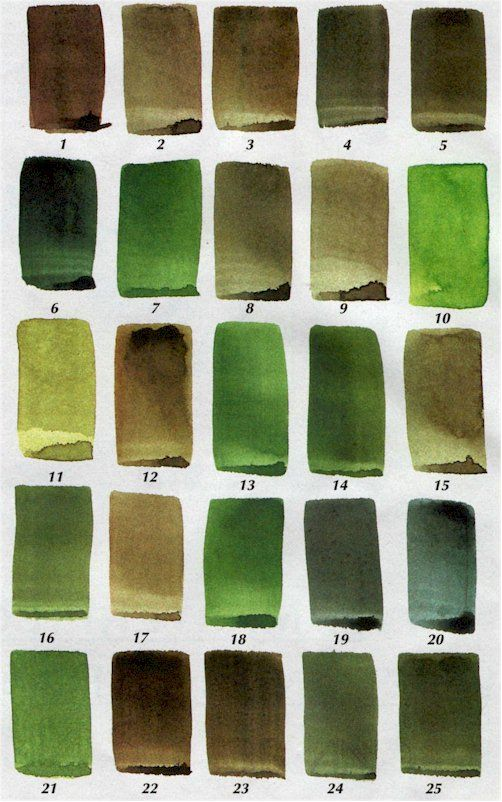 Tips for creating 25 luscious shades of green with watercolor paint.