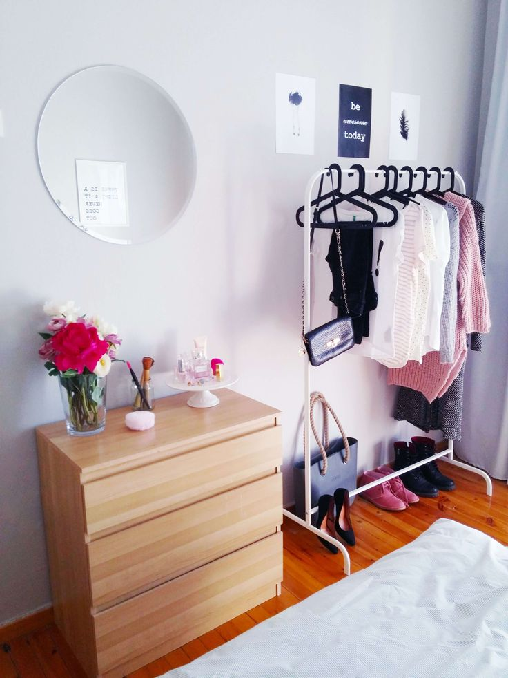 Chrysa's bedroom before and after - White clothes rack - VioletMimosa.com