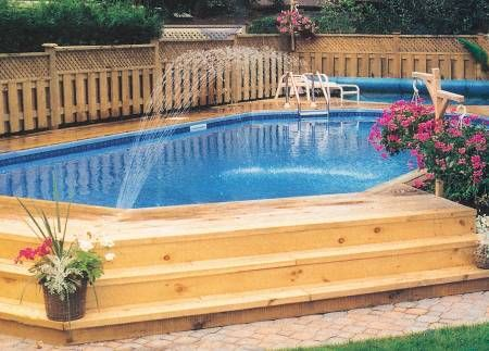 Semi inground swimming pool with steps: Pools Landscape, Pools Decks, Swim Pools, Semi Inground, Decks Design, Above Ground Pool, Backyard Pools, Pools Ideas, Inground Pools