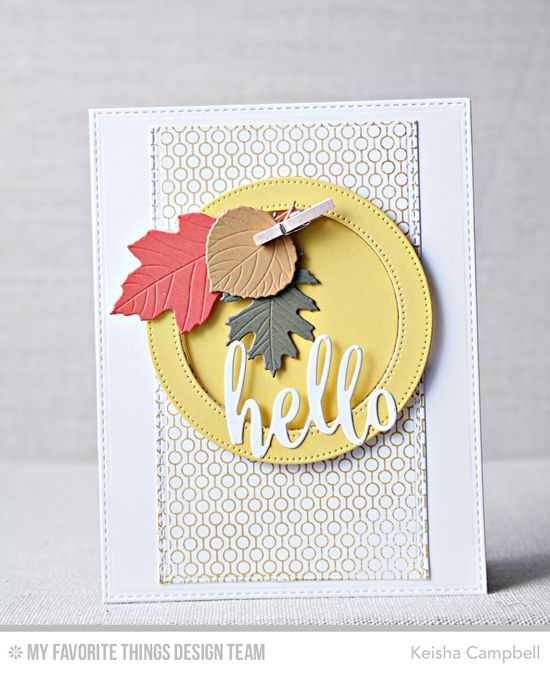 Lined up Dots Background, Stitched Circle Frames Die-namics, Falling Leaves Die-namics, Thanks & Hello Die-namics - Keisha Campbell #mftstamps