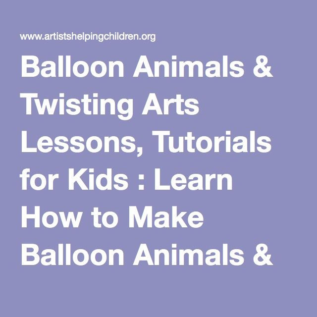balloon twisting instructions printable