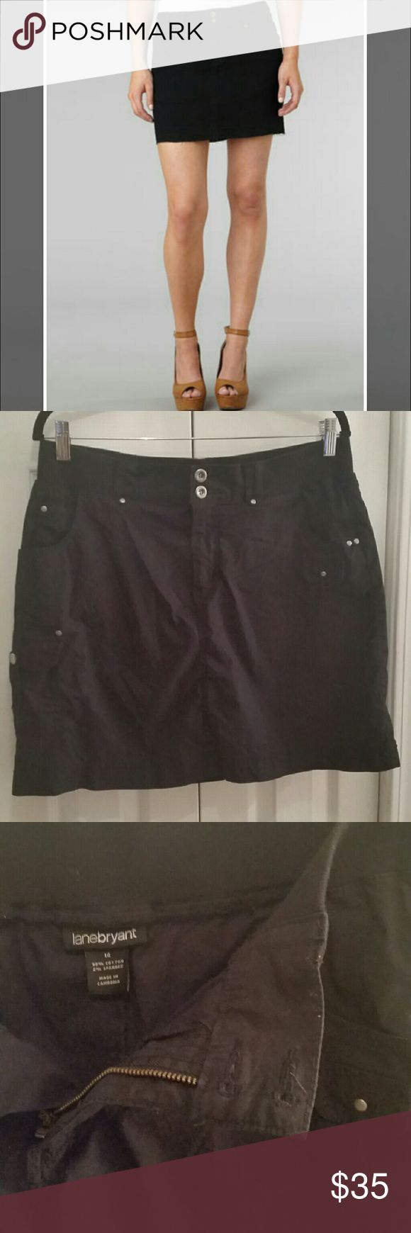 Lane Bryant Skort Black cargo skort from Lane Bryant New Without Tags This is a skort, a cross between skirt and short Lots if pockets, including side cargo pocket  18 inches long 98% cotton  2% spandex  Land Bryants size 14 Elastic waist with button zipper front fly  Look smashing and trendy, skorts are wonderful, cool and trendy yet offer modesty when bike riding, gulfing, hiking, tennis or just bending over. Lane Bryant Skirts