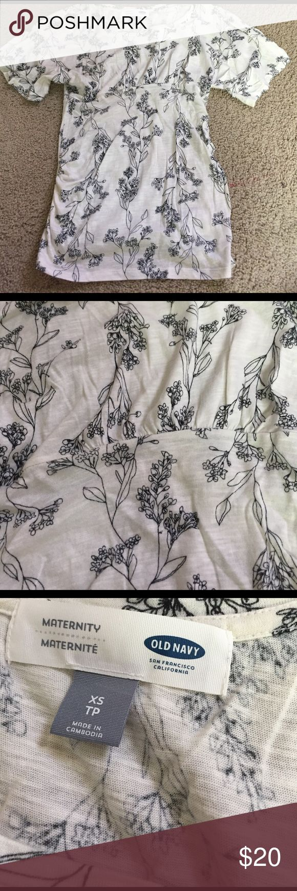 Old Navy maternity top Ivory background with black floral design slightly batwing sleeves scoop neck and gathered at sides. Lightweight and very comfortable. Sz XS. Great condition! Always buy your pre pregnancy size for maternity. Bundle and save! Old Navy Tops Blouses