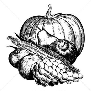 vintage fruit vegetable black and white art clipart