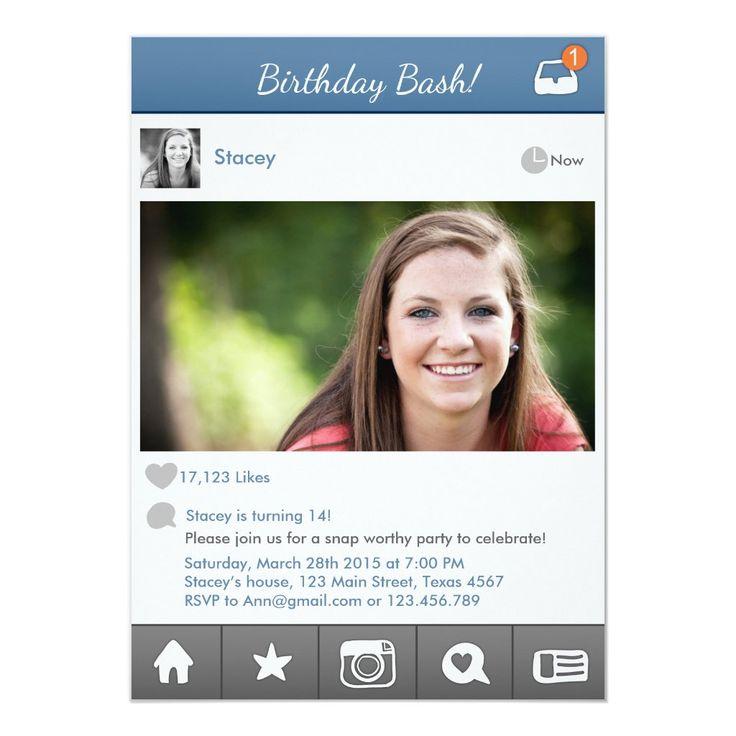 Teen Birthday Invitation Social media Invitation