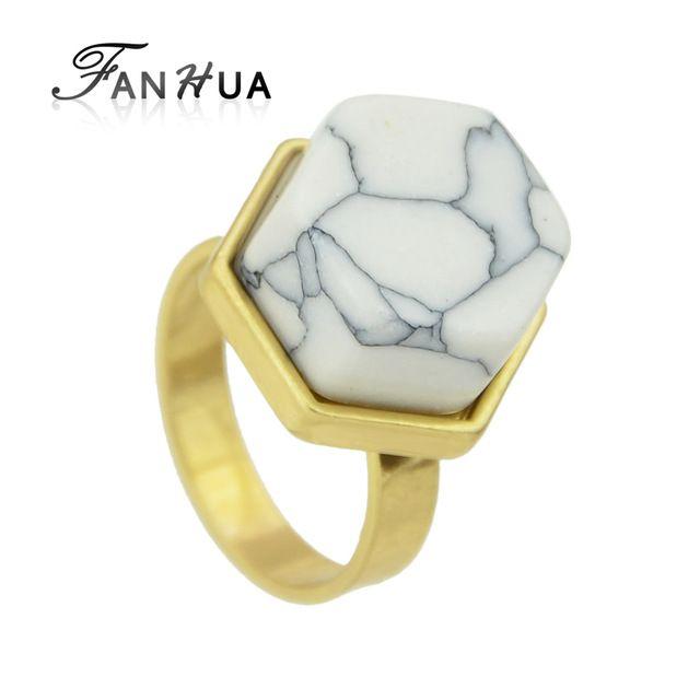 FANHUA 2016 Новый Богемный Стиль Милые Кольца Золото с Покрытием Из Белого Бирюзовый Палец Кольца Ювелирные Изделия