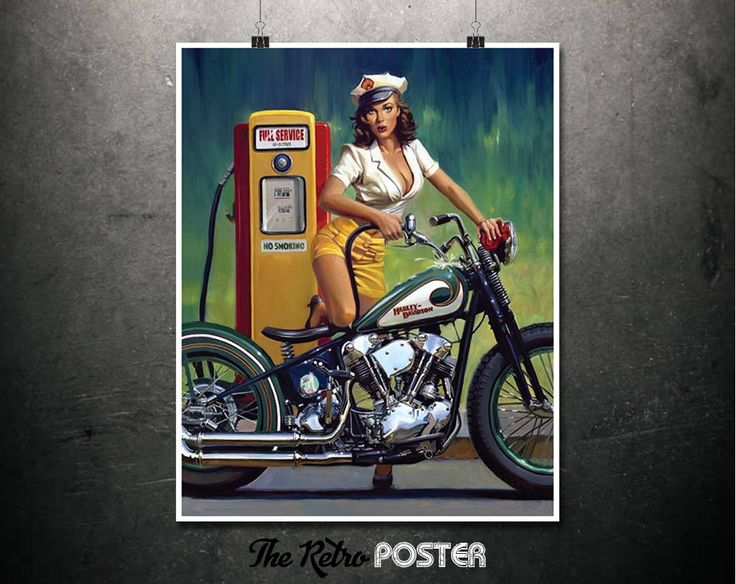 Full Service - Motorcycle Gifts, Pin Up, Pin Up Girl, Harley Davidson, Motorbike Gifts, Bike Art, Gas Station, Bike Print, Motorcycle Poster by TheRetroPoster on Etsy