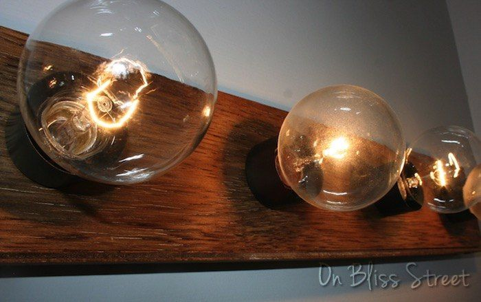 super easy hollywood light fixture upgrade for under 5, bathroom ideas, how to, lighting, repurposing upcycling