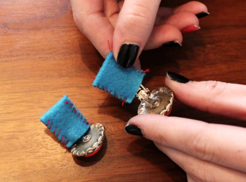 Make a felt sock for the clip on earring to transform to a shoe clip