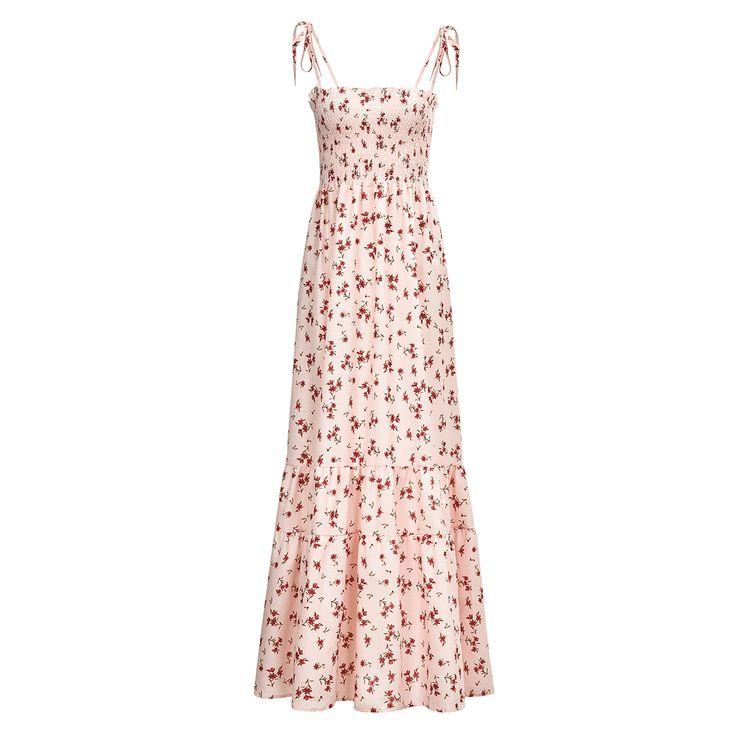 Floral Shoulder Tie Boho Maxi Dress