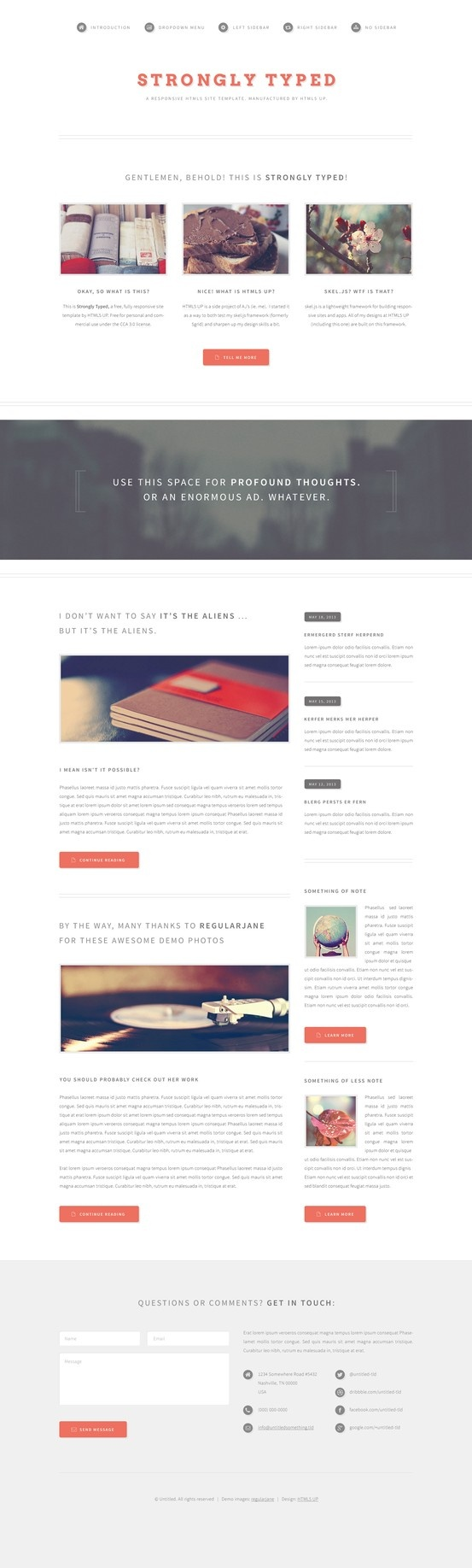 Strongly Typed - FREE Website HTML5 Template #html5 #website #webdesign #flat #template #design #retro #style #creative #free #freebie
