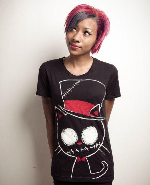 zombie cat shirt, cat tophat tshirt, cat top hat, hot topic cat shirt, akumuink