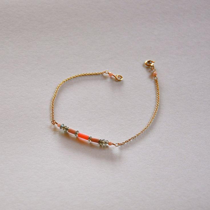 """Gourmette femme chaine dorée à l'or fin et pierres fines facettées : Modèle """"Laurine"""" : Bracelet par kanakeis"""