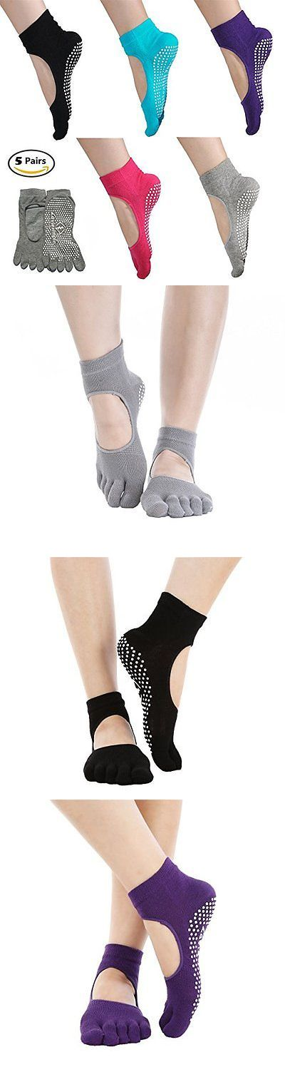 Socks 66078: 5 Pairs Toe Yoga Pilates Socks Non Slip Skid Barre Sock With Grips For Women And -> BUY IT NOW ONLY: $58.72 on eBay!