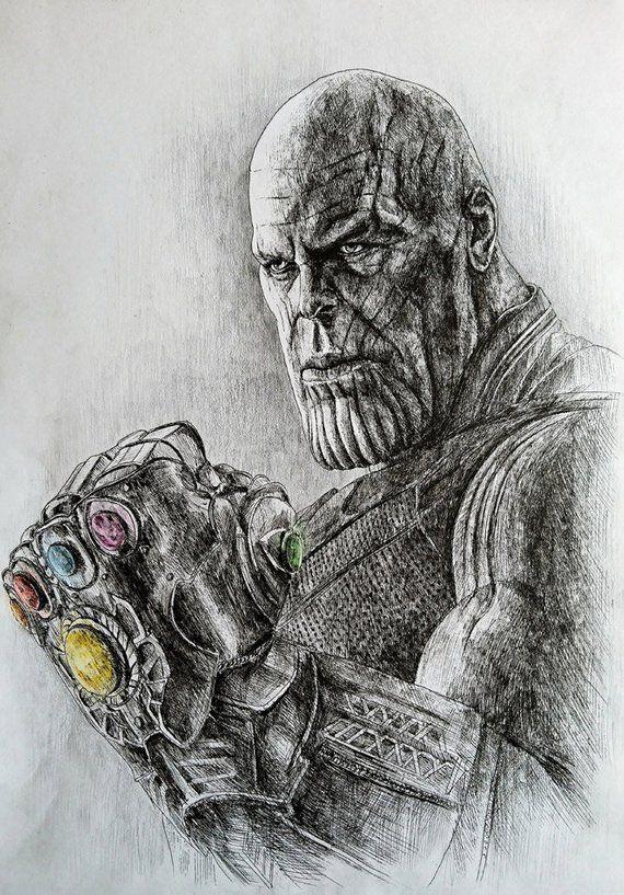 Thanos. Avengers Infinity War. Originalzeichnung. Fan Art