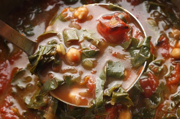 Roasted Tomato, Chickpea, and Swiss Chard Soup. (Made this tonight & it is DELICIOUS! Wasn't as generous with the salt as the recipe said to be and it still came out amazing! Low-sodium AND flavorful! Will be using this again!)