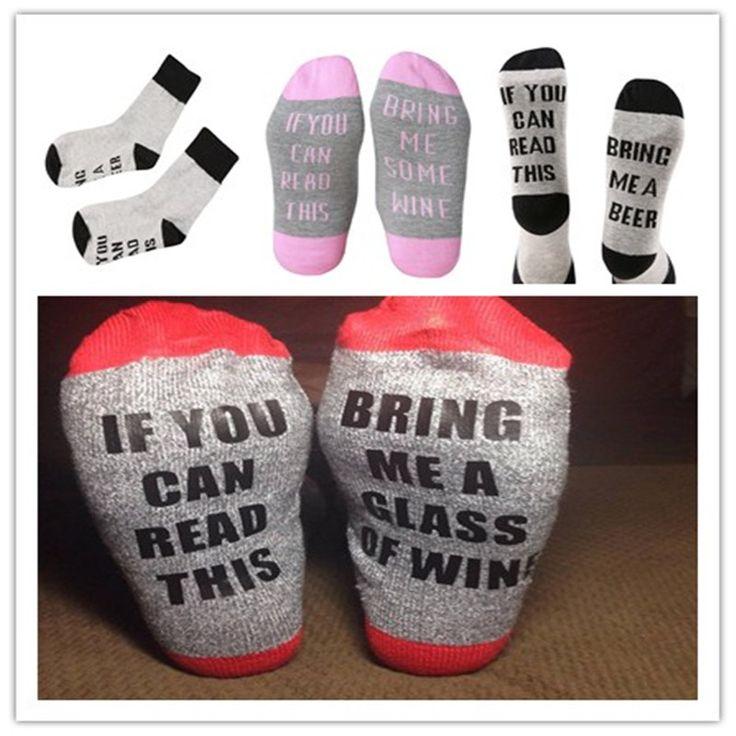 185,55 руб1 pairs вина носки kawaii забавный рождественский чулок мужчины женщины зима носок, если вы читаете это принести мне немного вина носки купить на AliExpress