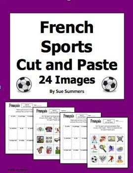 French Sports Cut and Paste / Game Cards / Flashcards by Sue - Contains 2 pages with 24 sports images, 2 pages with corresponding sports vocabulary words.