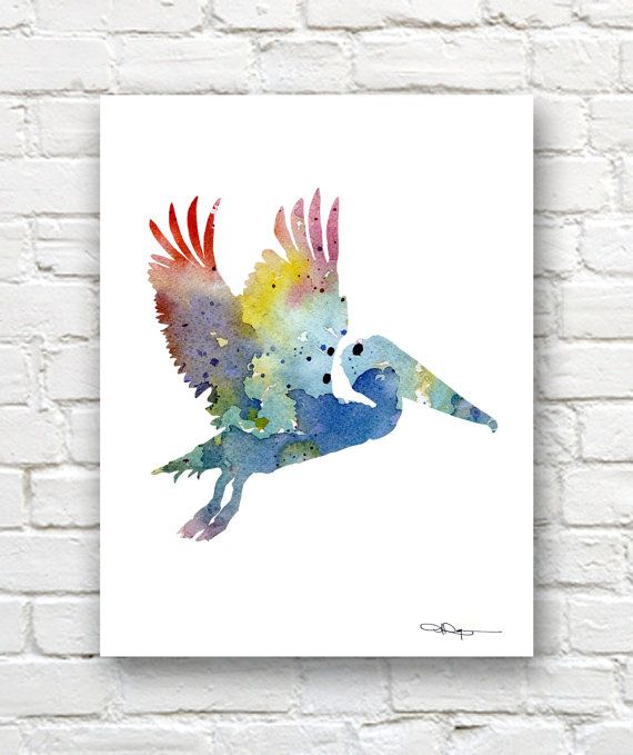 Pelican Art Print - Abstract Watercolor Painting - Wall Decor