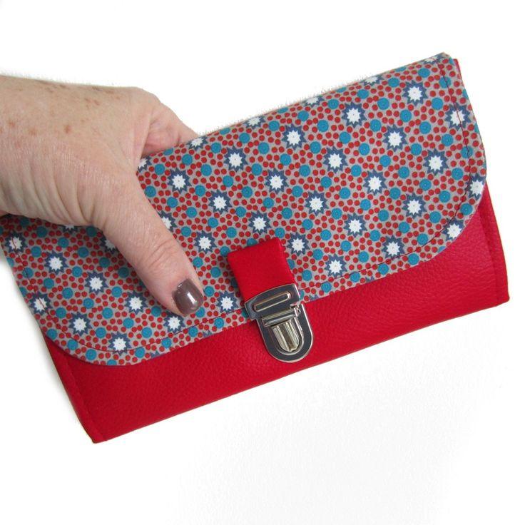 Image of Porte feuille en coton Petit Pan rouge, porte monnaie à soufflet