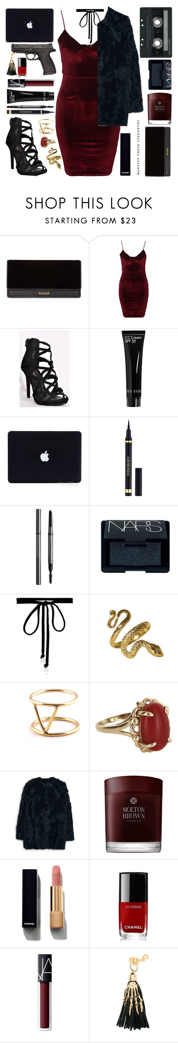 """La fièvre du samedi soir {NYE}"" by trxpicalwhore ❤ liked on Polyvore featuring Balmain, Glamorous, Bobbi Brown Cosmetics, Yves Saint Laurent, Burberry, NARS Cosmetics, Joomi Lim, SOKO, Vintage and MANGO"