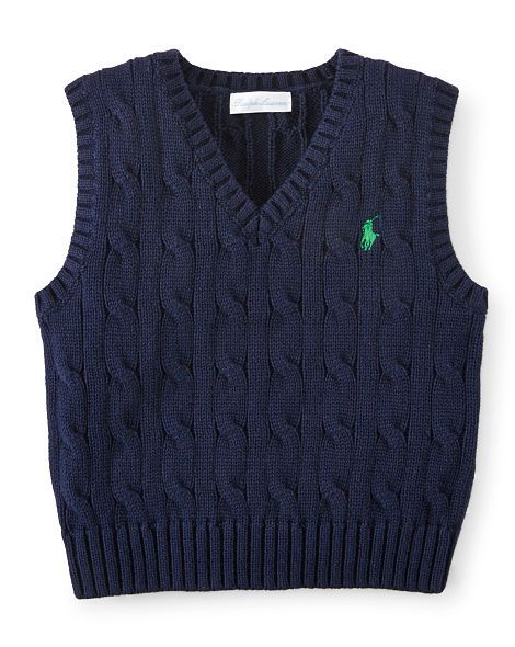 Cotton V-Neck Sweater Vest - Baby Boy Sweaters - RalphLauren.com