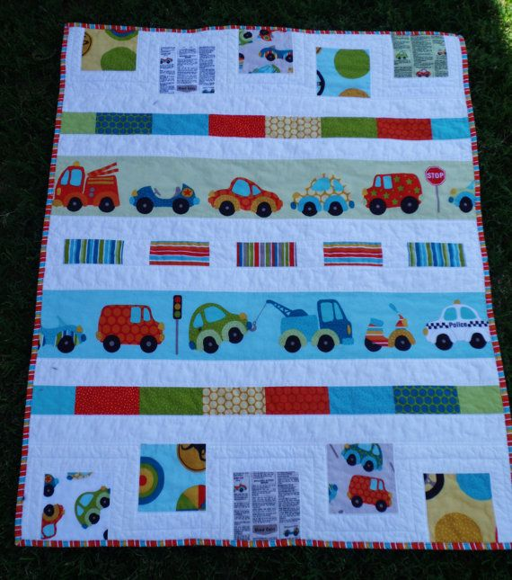 PERFECT BLANKET FOR A LIL BOY....Peak Hour/Riley Blake Baby Boy Quilt Free by TrianglesnSquares, $75.00