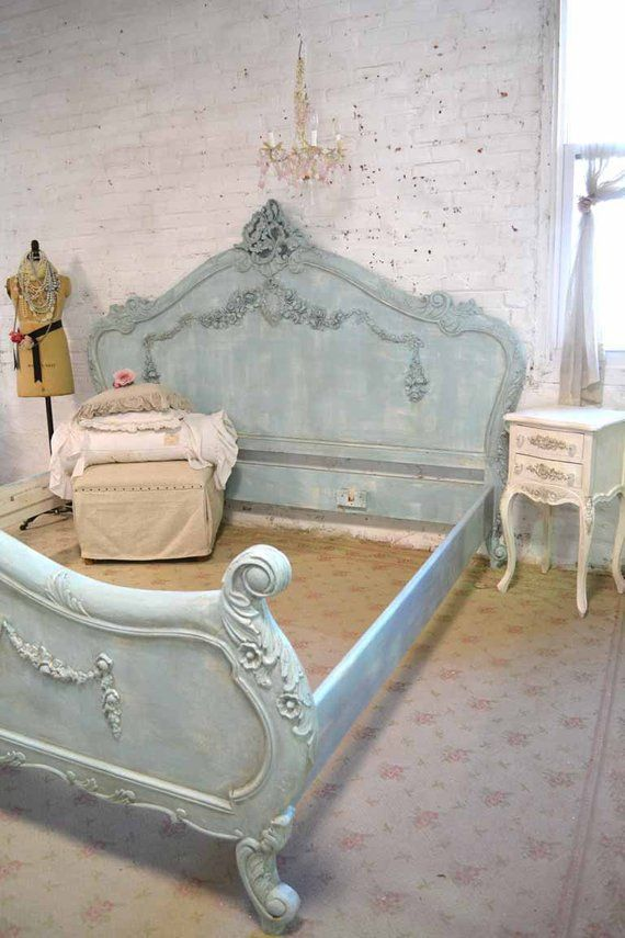 French Bed Painted Cottage Shabby Chic Romantic Bed Queen / | Etsy ...