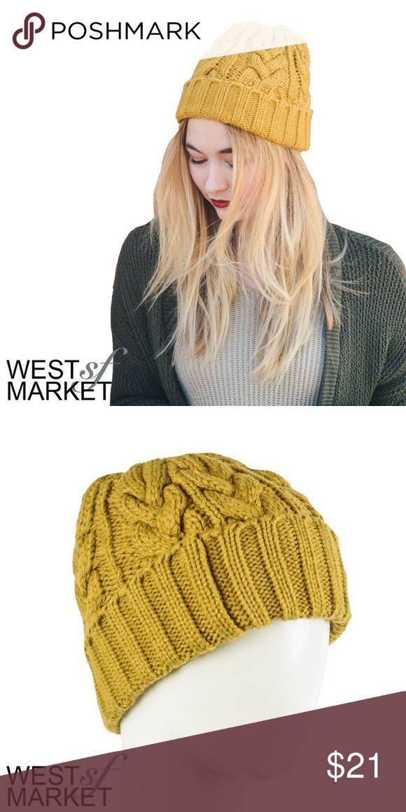 -NEW ARRIVAL- Canary Knit Beanie Bring some brightness to winter in this cable knit beanie in a rich mustard yellow! West Market SF Accessories Hats