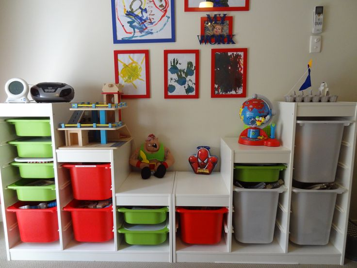 Toy Storage (Trofast by Ikea). Like the different heights. Could make center one a bench too?