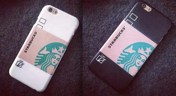 Handmade Apple iPhone 6/6 plus Black or White Starbucks Cup Case Cover Hard for iPhone i6 Latte Coffee Beverage Homemade iPhone Case