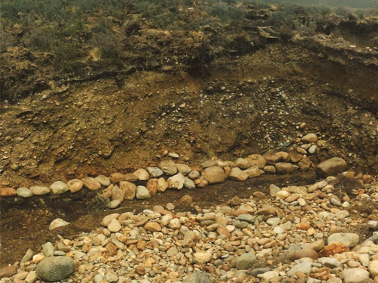 Alluvial gravel containing alluvial gold. Tierra Del Fuego Chile1991.