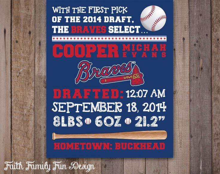 MLB Atlanta Braves Baseball Wall Art Birth Announcement. Sports Room Decorations. Baby Shower Gift. Boys Room. World Series Champs! by FaithFamilyFunDesign on Etsy https://www.etsy.com/listing/203250520/mlb-atlanta-braves-baseball-wall-art
