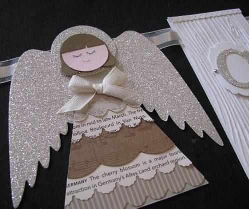 hand crafted element from an Angel Garland by Kathrn Ruddick ... punch art and die cutting ... neutral colors and glitter paper ... This piece is for a banner but would be a fab topper for a present, an ornament to hang on the tree  or focal point embellishment on a card ... luv it!