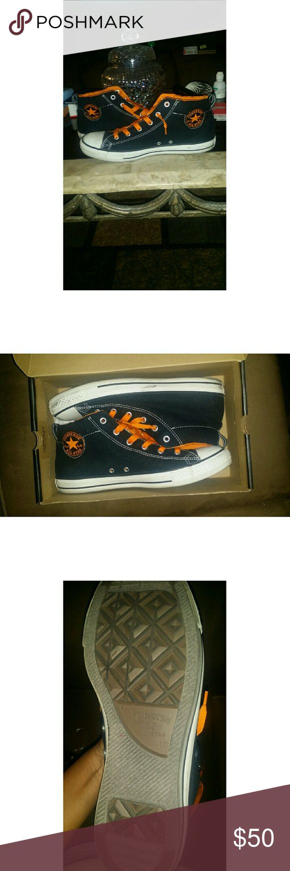 Converse Navy & orange high tops Men's High top Converse in navy and orange  Excellent condition and quality  No low balling  Price firm Converse Shoes Sneakers