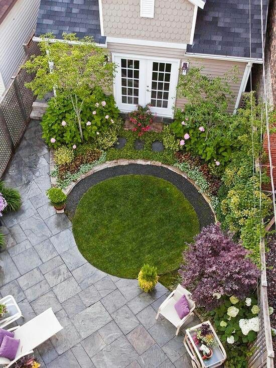 Small garden with a patio. Like the concept of the circular lawn, just a little bigger