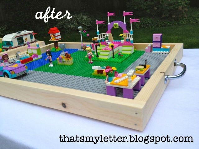 Portable Lego trays // she built her trays, but I'm thinking I can find something at the store that would work just as well (and maybe be a little lighter). Would be great to save a city, but still have the table free. Christmas?