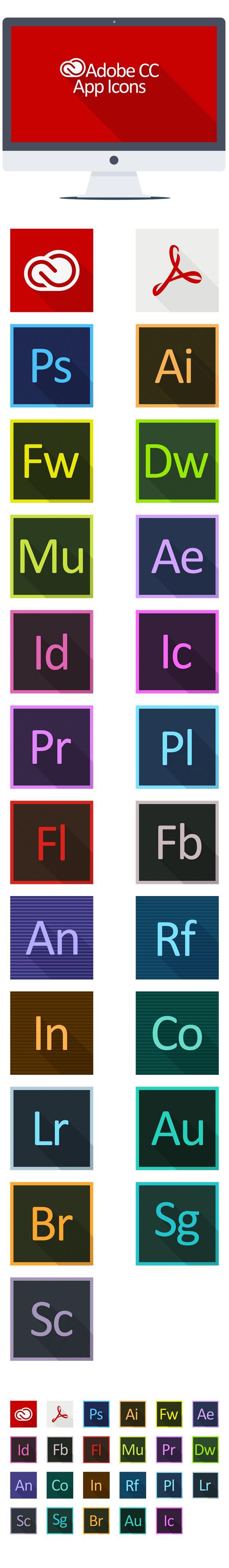 Adobe CC Long Shadow App Icons by KPL Designs , via Behance