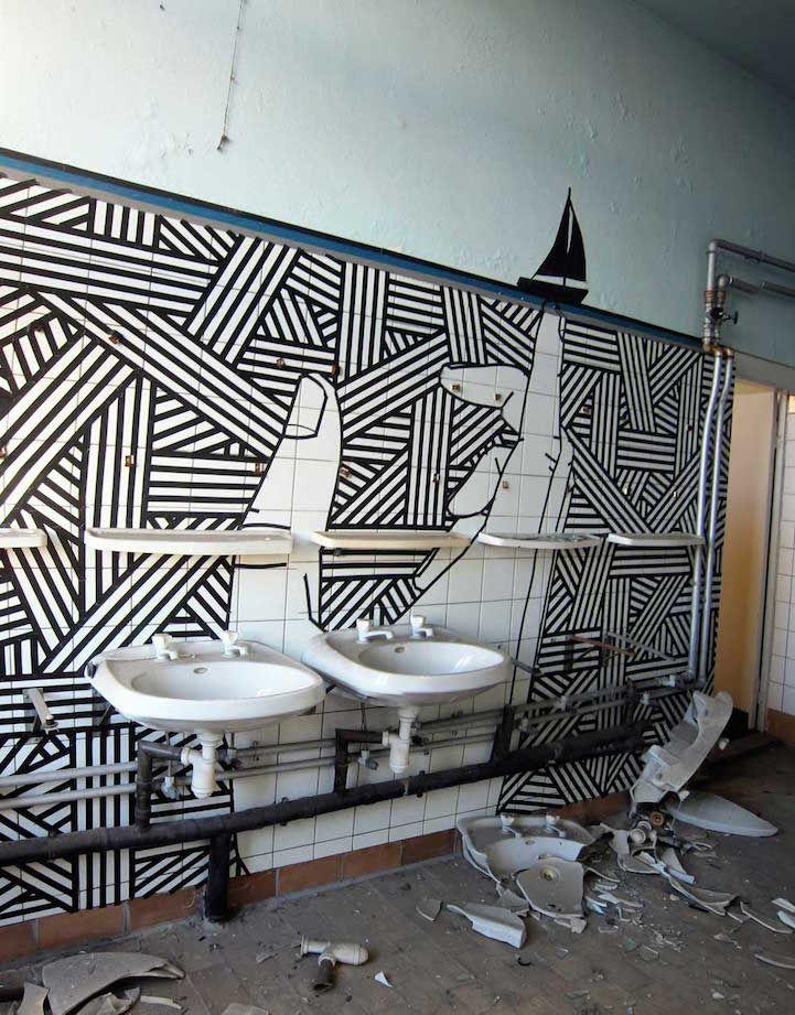 Eye-Popping Works of Street Art Made Using Masking Tape - My Modern Met
