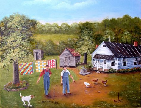 Folk Art Print Horseshoe Game White House Dog Chickens Quilts Outhouse Man Landscape Beagle Country Scene Arie Reinhardt Taylor by jagartist on Etsy